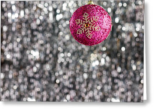 Greeting Card featuring the photograph Pink Christmas Bauble by Ulrich Schade
