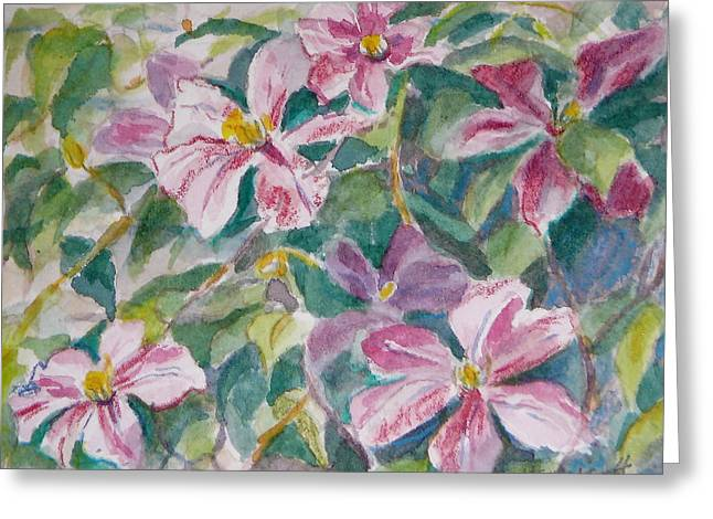 Pink Clematis Greeting Card by Jan Bennicoff