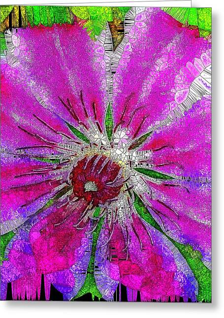 Pink Clematis Stained Glass  Greeting Card