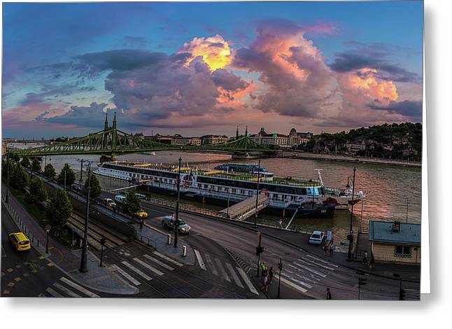 Pink Clouds Above The Danube, Budapest Greeting Card