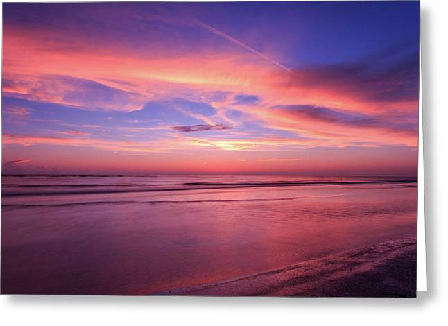 Pink Sky And Ocean Greeting Card