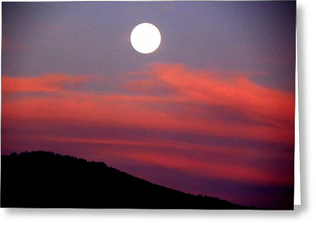 Pink Clouds With Moon Greeting Card