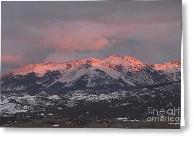Pink Colorado Rocky Mountain Sunset Greeting Card