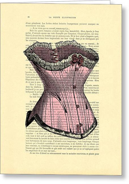 Pink Corset On Dictionary Book Page Greeting Card by Madame Memento