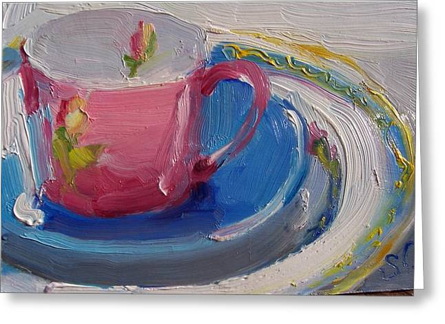 Pink Cup Greeting Card by Susan Jenkins