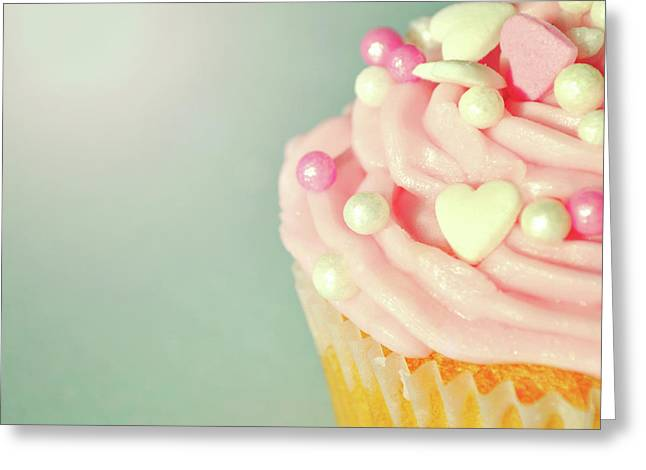Greeting Card featuring the photograph Pink Cupcake With Lovehearts by Lyn Randle