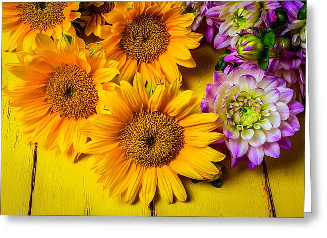 Pink Dahlias And Sunflowers Greeting Card