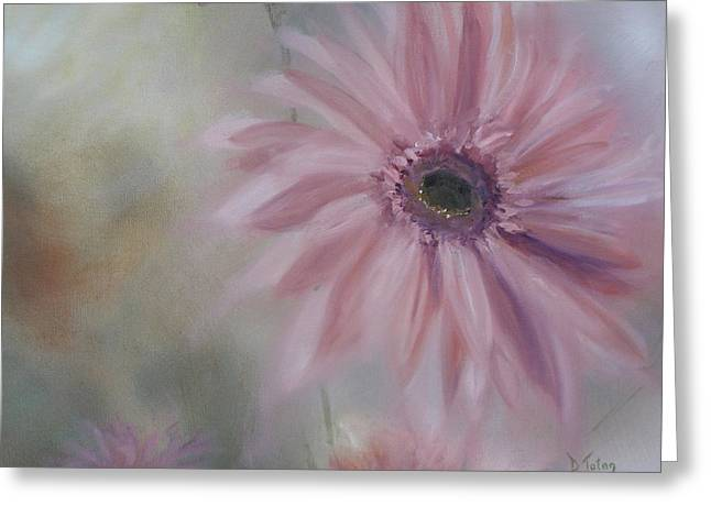 Greeting Card featuring the painting Pink Daisies by Donna Tuten