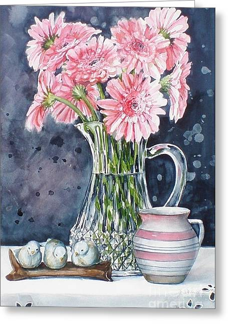 Pink Daisies In Crystal Pitcher Greeting Card