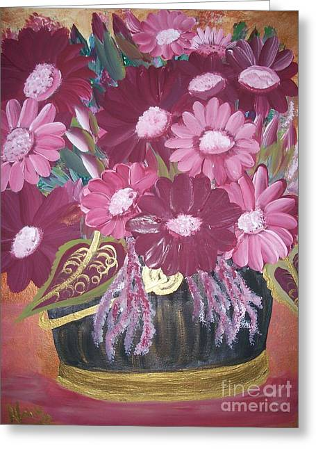 Pink Daisy Greeting Card by Teresa Nash
