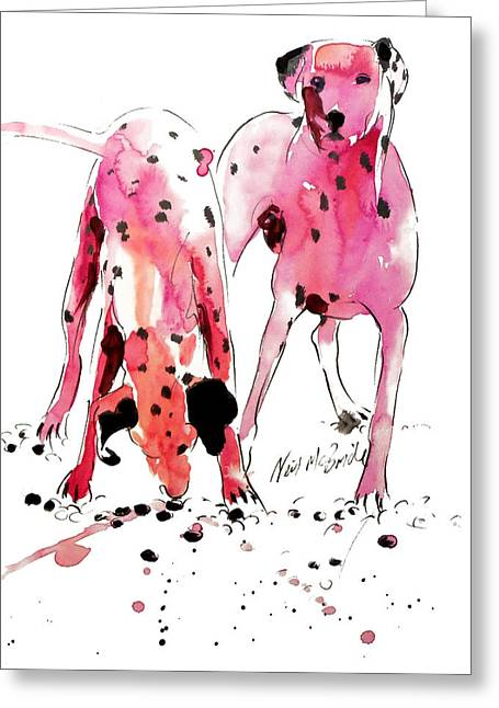 Neil Mcbride Greeting Cards - Pink Dalmations Greeting Card by Neil McBride