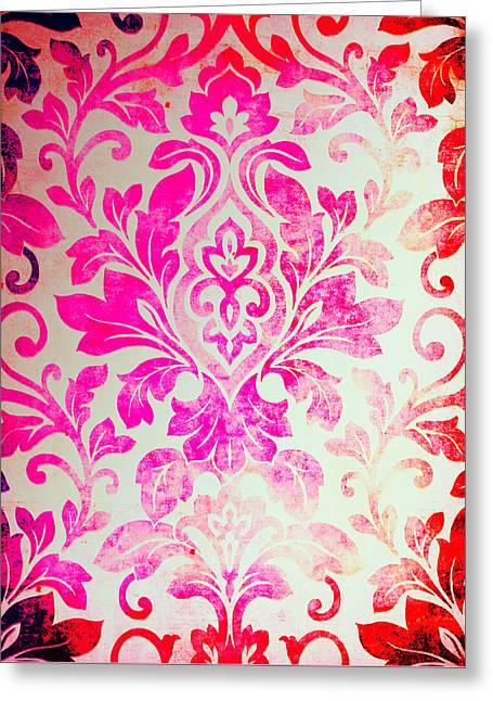Pink Damask Pattern Greeting Card