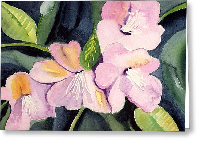 Pink Dancing Flowers Greeting Card by Janet Doggett