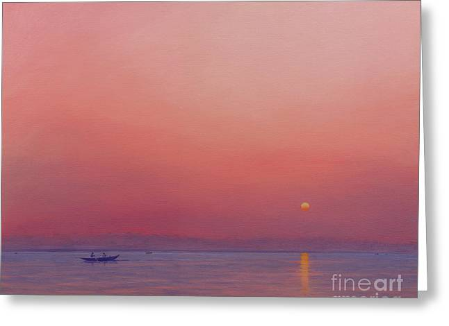 Pink Dawn On The Ganges Greeting Card by Derek Hare