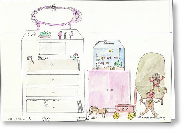 Pink Dolly Bedroom Greeting Card