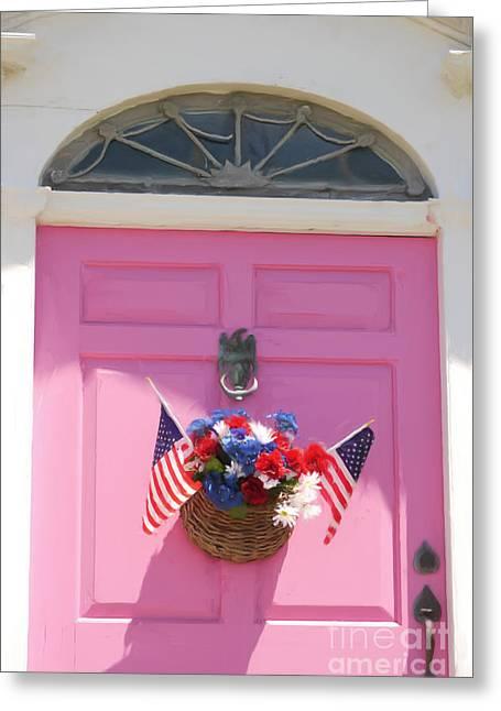 Pink Door Greeting Card by Susan  Lipschutz