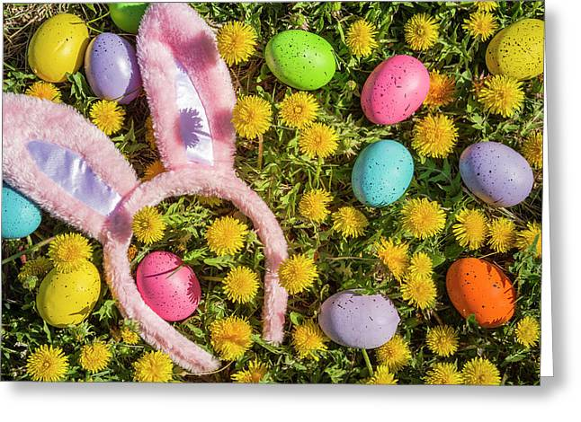 Greeting Card featuring the photograph Pink Easter Bunny Ears by Teri Virbickis