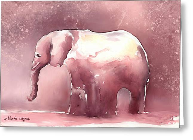 Pink Elephant Greeting Card by Arline Wagner