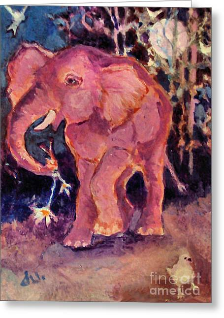 Pink Elephant Greeting Card