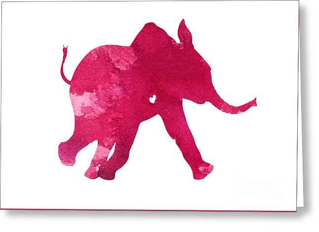 Pink Elephant Silhouette Watercolor Art Print Greeting Card