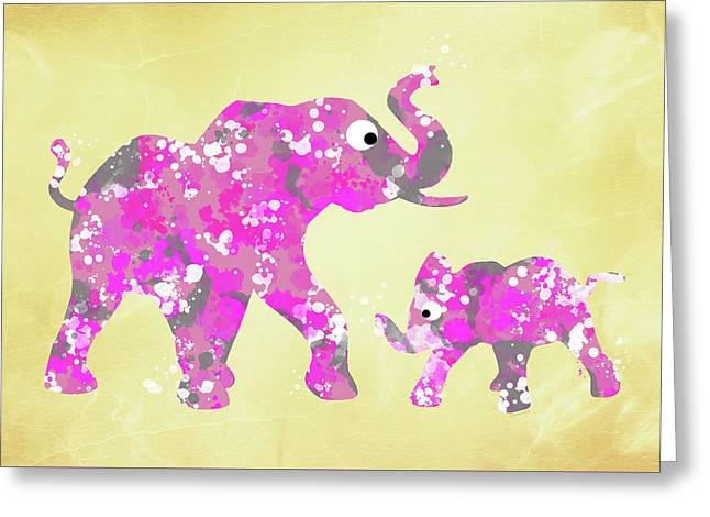 Pink Elephants Greeting Card by Christina Rollo