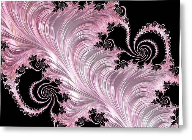 Pink Feather On Black Abstract Greeting Card