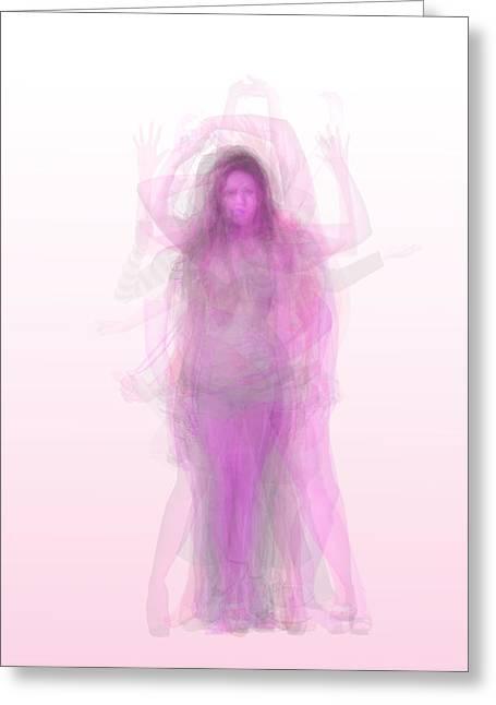 Pink Female Figure Body Overlay Greeting Card by Steve Socha