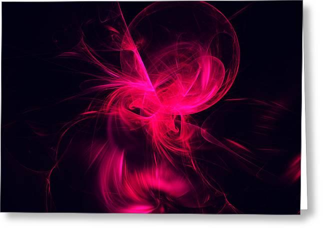 Pink Flame Fractal Greeting Card