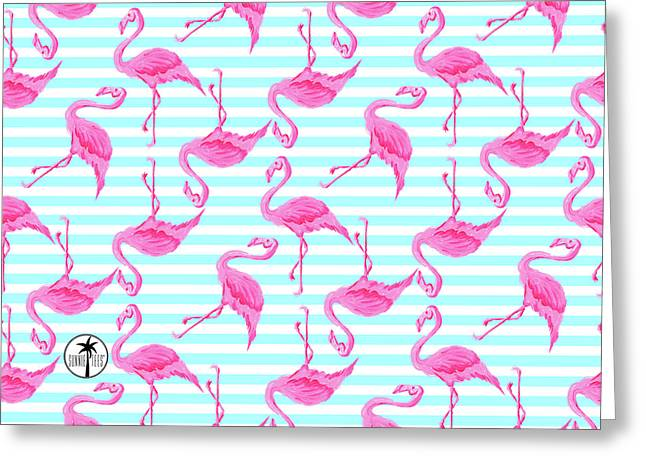 Pink Flamingo Aqua Stripes Beachy Pattern From Sunnie Tees Greeting Card by Megan Duncanson