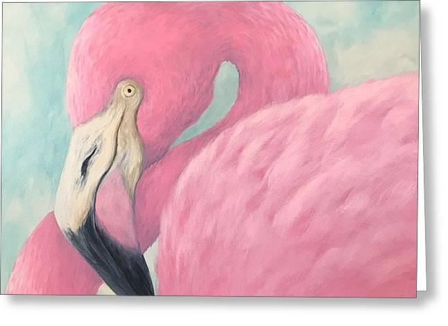Pink Flamingo V Greeting Card