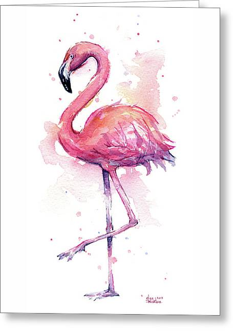 Pink Flamingo Watercolor Tropical Bird Greeting Card