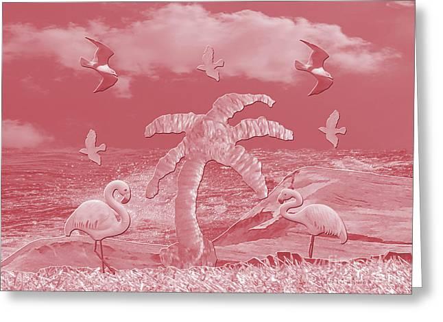 Pink Flamingo's Palms Greeting Card