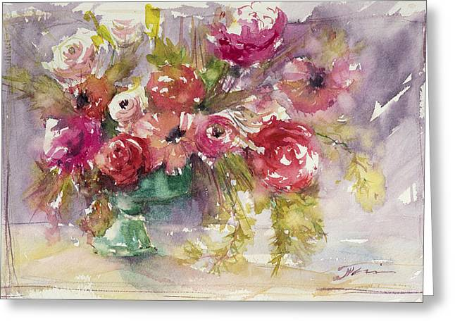 Pink Floral Impressions Greeting Card