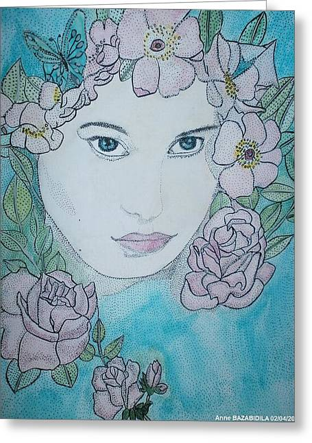 Pink Flower Greeting Card by Anne Bazabidila