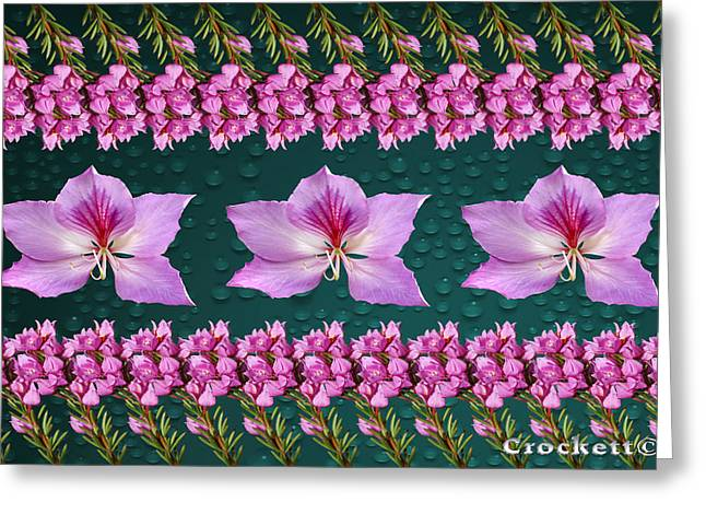 Pink Flower Arrangement Greeting Card by Gary Crockett
