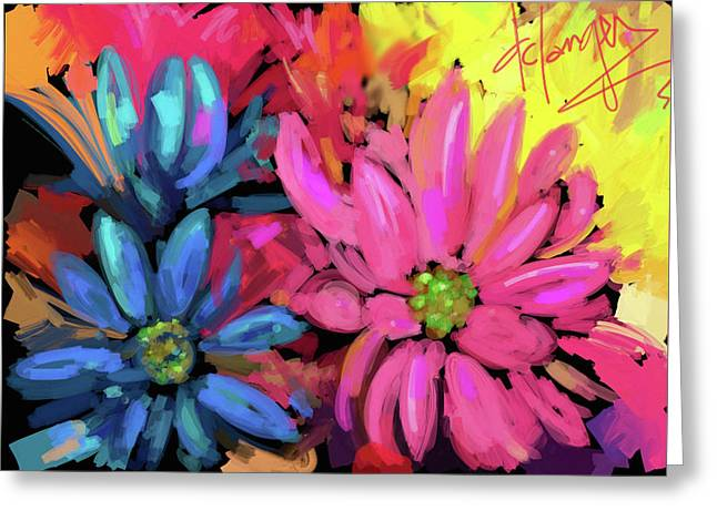 Greeting Card featuring the painting Pink Flower by DC Langer