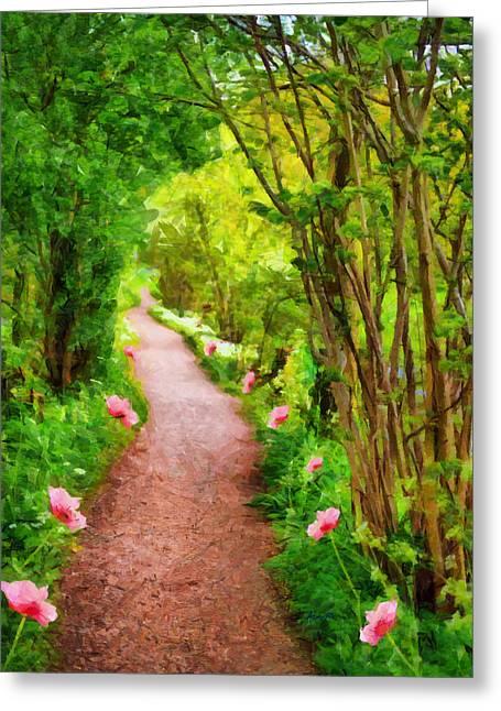 Pink Flower Path Greeting Card