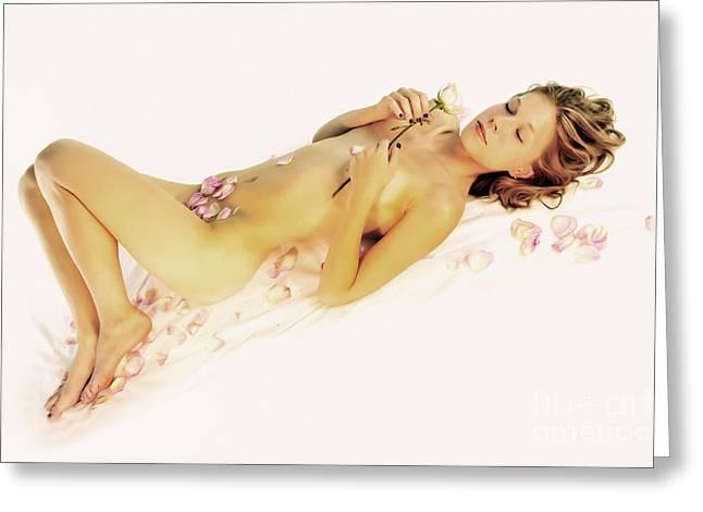 Pink Flower Petals Greeting Card by Robert WK Clark
