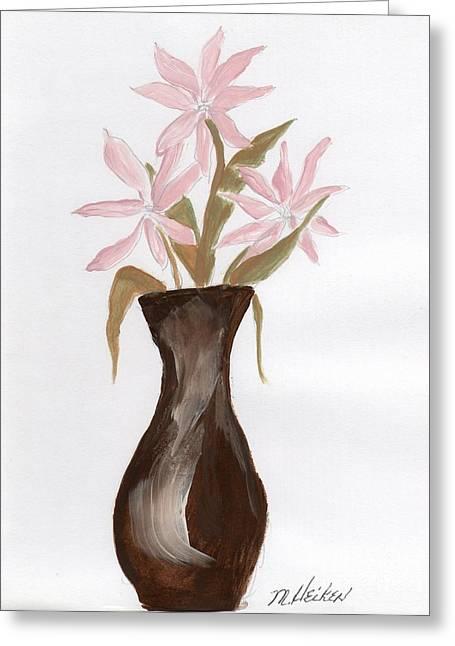 Pink Flowers In Brown Vase Greeting Card by Marsha Heiken