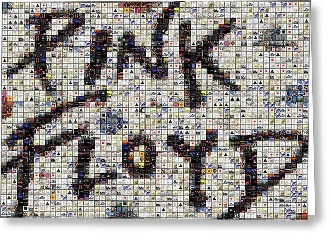 Pink Floyd Albums Mosaic Greeting Card by Paul Van Scott