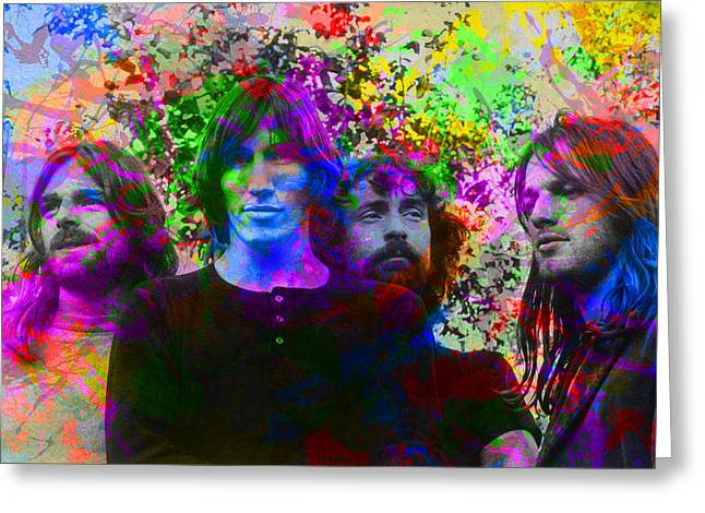 Pink Floyd Band Portrait Paint Splatters Pop Art Greeting Card by Design Turnpike