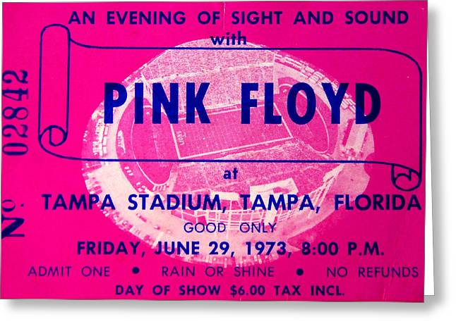 Pink Floyd Concert Ticket 1973 Greeting Card