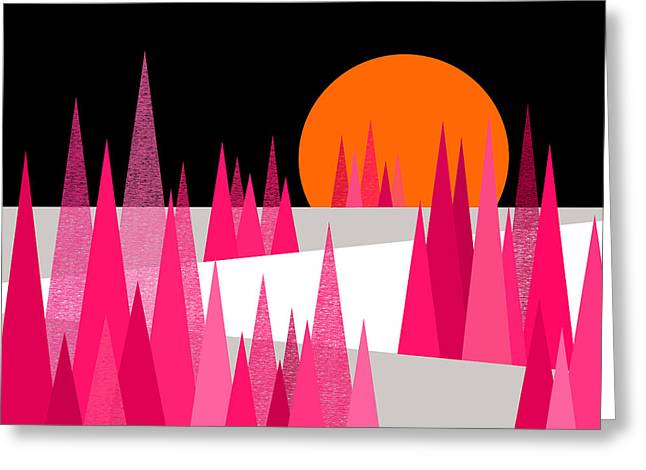 Pink Forest Greeting Card by Val Arie
