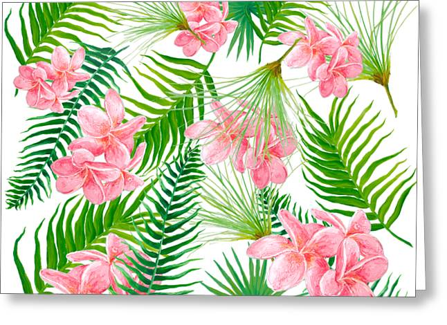 Pink Frangipani And Fern Leaves Greeting Card by Jan Matson