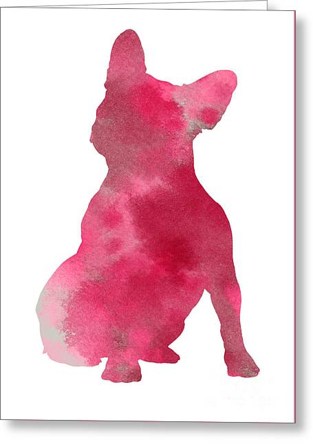 Pink Frenchie Watercolor Minimalist Painting Greeting Card by Joanna Szmerdt