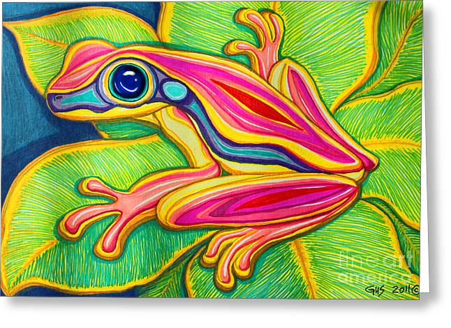 Pink Frog On Leafs Greeting Card by Nick Gustafson