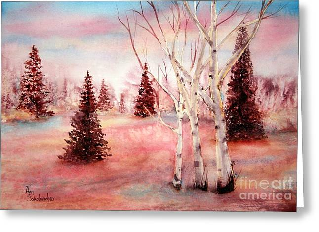 Pink Frost Greeting Card by Ann Sokolovich