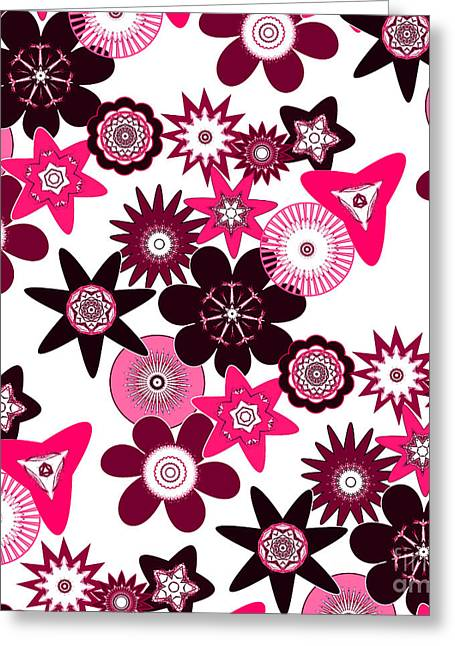Pink Funky Flowers Greeting Card