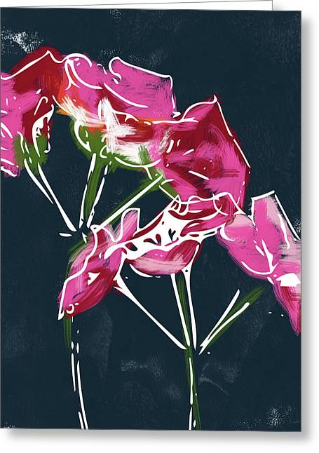 Pink Geraniums- Art By Linda Woods Greeting Card by Linda Woods