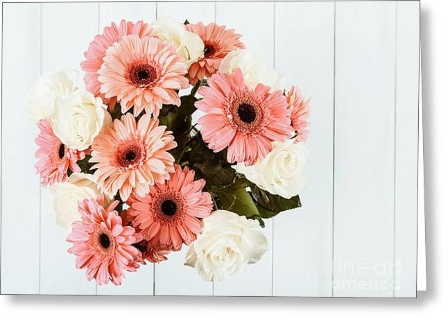 Pink Gerbera Daisy Flowers And White Roses Bouquet Greeting Card
